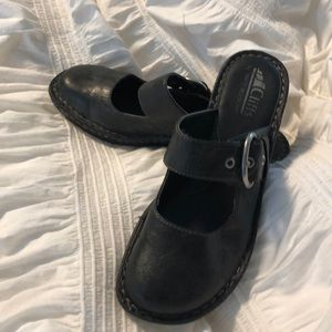 Black Wedge slip on shoes